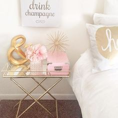 Images of pink and gold bedroom decor Pink Gold Bedroom, Pink Bedroom Design, Gold Bedroom Decor, Pink Bedroom For Girls, Gold Rooms, Bedroom Colors, Bedroom Ideas, Gold Bedding, Room Girls