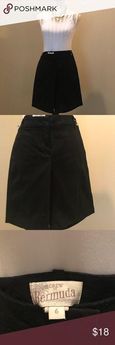 "J Crew Black Bermuda Shorts! JCrew Bermuda Short. Black. Wardrobe must have. Dress up or down.   Size 6 Belt loops  Length 19"" Waist 32""  98% Cotton 2% Spandex Machine Wash J. Crew Shorts Bermudas"