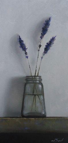 Original Oil Painting - Lavender - Contemporary Still Life Art - Nelson