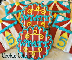 Circus Cookies Big Top Decorated Sugar Cookie Birthday Party Baby Shower Cookie Favors One Dozen
