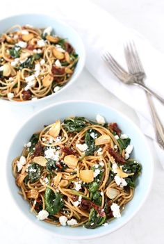 Spaghetti with Sun Dried Tomatoes & Spinach.