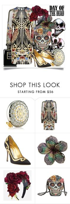"""Day Of The Dead"" by capricat ❤ liked on Polyvore featuring Estée Lauder, Just Cavalli, Manolo Blahnik, Jade Jagger and Mary Frances Accessories"