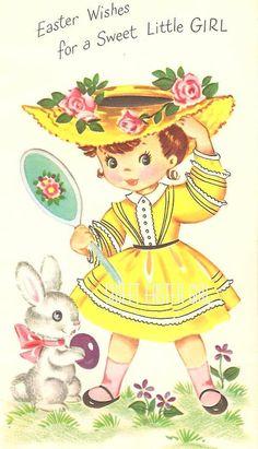 Vintage Easter Wishes Card Easter Greeting Cards, Vintage Greeting Cards, Vintage Postcards, Vintage Images, Halloween Vintage, Vintage Holiday, Easter Art, Hoppy Easter, Easter Wishes