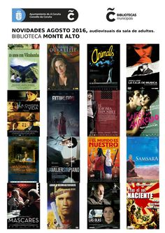 Novos audiovisuais do mes de agosto da sala de adultos da biblioteca Monte Alto.