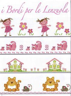 Gallery.ru / Фото #41 - lençois 4 - tekere205 Baby Cross Stitch Patterns, Cross Stitch Borders, Cross Stitch Charts, Cross Stitching, Cross Stitch Embroidery, Cross Stitch House, Mini Cross Stitch, Cross Stitch Tutorial, Cross Stitch Bookmarks