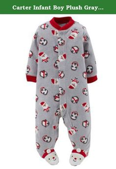 "Carter Infant Boy Plush Gray Christmas Sleeper Santa Sleep Play Pajama Preemie. This cute baby boys plush gray ""Child of Mine"" sleeper features Santa Claus and penguins. Size:Infant Boys Preemie, Newborn, 0-3 Months, 3-6 Months, or 6-9 Months Preemie: Up to 5 pounds Newborn: 5-8 pounds & 21.5 inches 0-3 Months: 8-12.5 pounds, 21.5-24 inches 3-6 Months: 12.5-16.5 pounds, 24-26.5 inches 6-9 Months: 16.5-20.5 pounds Snap front, all the way to the feet Built in Santa Claus slipper feet Warm..."