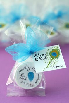 GCD personalized favors for bridal showers : lip balm & other bath/body products