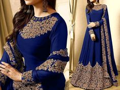 Indian Embroidered Blue Chiffon Maxi Dress For more details and real pictures visit: PakStyle. Red Chiffon, Chiffon Maxi Dress, Stylish Dresses, Women's Fashion Dresses, Pakistani Maxi Dresses, Luxury Clothing Brands, Barbie Gowns, Female Dress, Desi Wedding