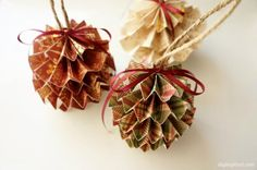 Get in the Christmas Spirit! 8 DIY Christmas Ornaments to Inspire You this Christmas Season!: Folded Scrapbook Paper Christmas Ornaments