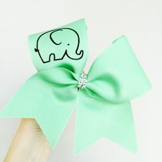 Baby Elephant Mint Cheer Bow