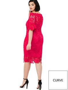 Paper Dolls Curve Crochet Lace Bardot Dress with Fluted Sleeve Detail From Paper Dolls Curve, this stunning lace Bardot dress is designed to enhance your covetable curves and features an off-the-shoulder for a could-be-vintage look. Perfect for spring summer occasions in a gorgeous coral hue, we love the lush lace overlay with sheer details to the flirty fluted sleeves, hemline and sweetheart neckline which gives your decolletage a boost.Wear with two-part heels and a box clutch bag for a…