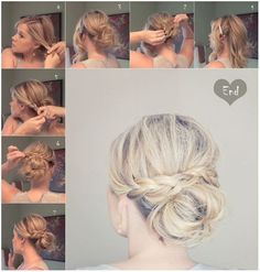 Messy Braid Bun for Medium Hair: Updos Tutorials...hair for mom's wedding?