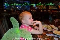 Tips on Dining at Disney with a Toddler.  #CorbyCook #Disney #DisneyDining #magickingdom  #Disneythemeparks #Epcot