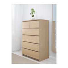 Ikea oppland 4 drawer chest oak veneer the natural grain pattern and r - Commode chene blanchi ...