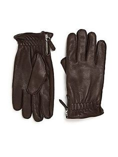 Saks Fifth Avenue Collection Wool & Leather Gloves - Brown - Size