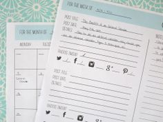 Printable Editorial Calendar and Post Details Worksheet — The Creatives Club