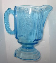 "EAPG 1891 U.S. Glass ""Medallion"" Hearts & Spades,Blue Cream/juice pitcher"