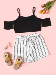 To find out about the Girls Cold Shoulder Crop Top & Striped Belted Shorts Set at SHEIN, part of our latest Girls Two-piece Outfits ready to shop online today! Summer Outfits For Teens, Kids Outfits Girls, Cute Girl Outfits, Girls Fashion Clothes, Cute Outfits For Kids, Teen Fashion Outfits, Teenage Outfits, Cute Casual Outfits, Fashionable Outfits
