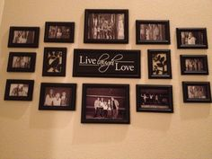 Picture arrangement at bottom of stairs.