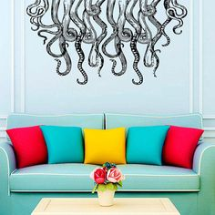 Wall Decal Vinyl Sticker Decals Art Home Decor Design Murals Octopus Tentacles Poulpe Delfish Fish Deep Sea Ocean Bedroom from TrendyWallDecals on Etsy.