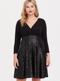 cc2f7e50c5 Special Occasion Black Sequin Skater Dress, Black Sequin Skirt, Sequin Skirt  Outfit, Black