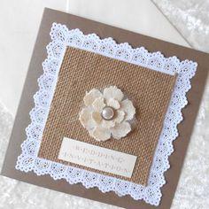 Rustic Wedding Invitations with burlap hessian x 5 (Ref 152) £10.00 http://folksy.com/items/4363249-Rustic-Wedding-Invitations-with-burlap-hessian-x-5-Ref-152-