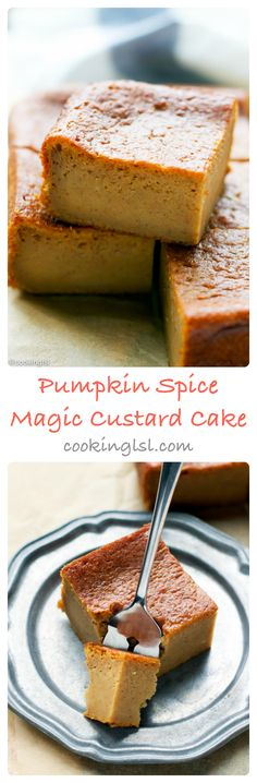 Pumpkin Magic Custard Cake Recipe – very easy to make, this cake has fall flavors and custard-like texture. Pumpkin Spice Cake, Pumpkin Butter, Pumpkin Dessert, Pumpkin Pumpkin, Pumpkin Custard, Cupcakes, Cupcake Cakes, Pumpkin Recipes, Cake Recipes