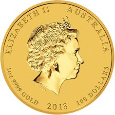 Gold Year of the Snake obverse. Available in sizes from 1/20 ounce to 10 kilo.