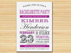 Bachelorette Party Invitation // girl's night // hen's night // Wedding  // Typography // Announcement // Invitations // Postcard
