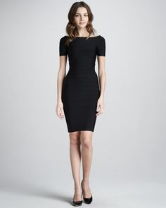 Boat-Neck Bandage Dress by Herve Leger at Neiman Marcus.
