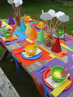 Table at a Rainbow Party.  See more at CatchMyParty.com.  #rainbow #partyideas
