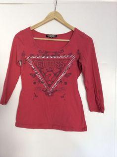 GUESS Womens Small  Rhinestone Shirt  Logo Long Sleeve Tee Ladies #Guess #tee