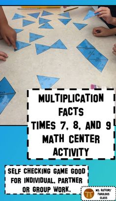This math station contains 30 problems in a self checking game for practicing their multiplication facts for the 7s, 8s and 9s tables.