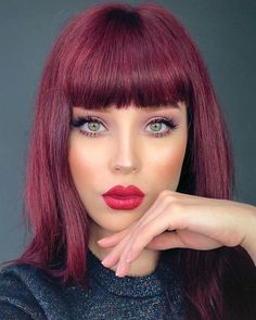 163 hot red hair color shades to dye for red hair dye tips & ideas page 10 Shades Of Red Hair, Red Hair Color, Cool Hair Color, Purple Hair, Dyed Tips, Hair Dye Tips, Pelo Popular, Red Hair Makeup, Wine Hair