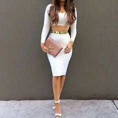 Crop top and pencil skirt with strappy heels
