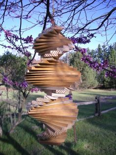 Wooden Helix Spiral Wind Spinner