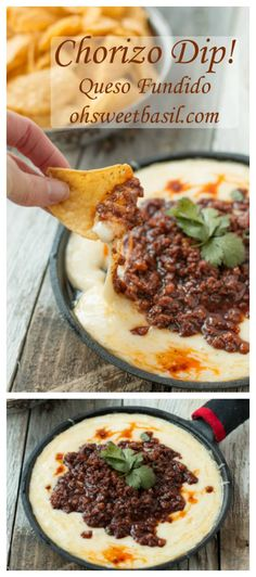 Chorizo Recipes, Spicy Recipes, Dip Recipes, Mexican Food Recipes, Appetizer Recipes, Cooking Recipes, Chorizo Queso Dip Recipe, Delicious Appetizers, Mexican Cooking