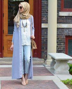 long kimono cardigan look, Modest street hijab fashion http://www.justtrendygirls.com/modest-street-hijab-fashion/