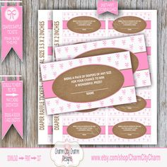Diaper Raffle Cards Diaper Raffle Tickets Pink by charmcitycharm