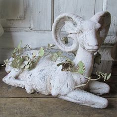 White distressed goat statue French Nordic by AnitaSperoDesign
