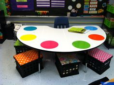 My revamped guided reading table! Just some white contact paper and a variety of colorful outdoor vinyl (dry erase) circles!! I am in love #guidedreadingtable #cute