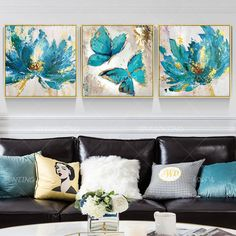3 Piece Painting, 3 Piece Wall Art, Painting Frames, Art Encadrée, Art Mural, Butterfly Painting, Butterfly Canvas, Blue Butterfly, Acrylic Art