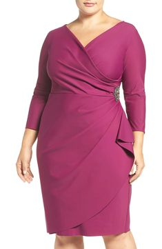 Alex Evenings Embellished Surplice Sheath Dress (Plus Size) available at Plus Size Wedding Dresses With Sleeves, Dresses For Apple Shape, Plus Size Cocktail Dresses, Size 16 Dresses, Plus Size Outfits, Formal Dresses, Wrap Dresses, Party Dresses, Lounge Dresses