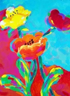 Fauvism Flowers - by Karen Fields from Think Pink art exhibit Painting Lessons, Painting For Kids, Fauvism Art, Acrylic Flowers, Pink Art, Easy Paintings, Tropical Flowers, Artsy Fartsy, Flower Art