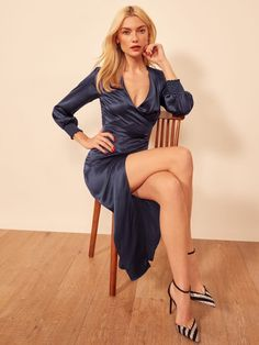 This is a midi length dress with an overlapping neckline, drapey bodice, smocking on sleeves and a high slit. The Chantelle is slim fitting throughout. Gown Dress Online, Dress Up, Lovely Legs, Great Legs, Satin Dresses, Sexy Dresses, New Frock, Khloe Kardashian Hair, Sexy Legs And Heels