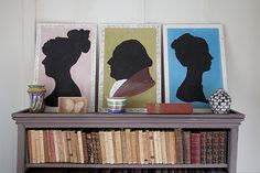 Charleston: the home of artists Vanessa Bell and Duncan Grant. Silhouettes in Duncan Grant's dressing room.