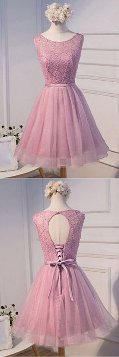A-line Scoop Neck Short Tulle Homecoming Dress With Beading,Open Back Prom Dress,YY370