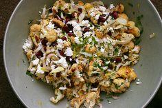 cauliflower, bean and feta salad