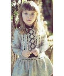 Vestido infantil gris piedra y azul marino