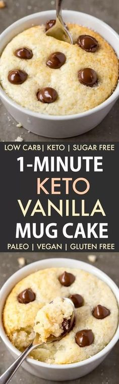 1 Minute Keto Vanilla Mug Cake (Paleo, Vegan, Sugar Free, Low Carb) - An easy mug cake recipe which takes one minute and is super fluffy, light and packed with protein! Weight Watcher Desserts, Low Carb Sweets, Healthy Desserts, Easy Desserts, Protein Desserts, Diabetic Desserts, Protein Recipes, Vegan Sweets, Protein Foods